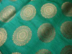 Tela de brocado de seda verde mar de la por Indianlacesandfabric