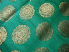 Sea green and gold Indian brocade fabric