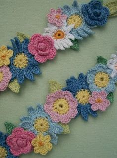 Crochet flower garland from Knot Garden.  I'm often asked about the patterns I use. There are lots of crocheted flower patterns available, and I think this idea would work with any arrangement of any flowers.  My flowers were a selection from these 3 books: 99 Floral Motifs to Crochet - Leisure Arts Crochet Embellishments - Jean Leinhauser, Leisure Arts 201 Crochet Motifs, Blocks, Projects and Ideas - Melody Griffiths (this book uses UK crochet terms)