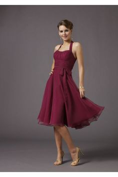 Strapless Bateau with a belt chiffon short bridesmaid dress