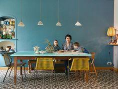 TOUCH this image: Table indienne en teck ancien, plateau peinture aqua chez... by The Socialite Family