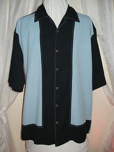 Vintage Silk 50's Style Blue & Black Loop Collar Top Stitch Mens Lounge Shirt