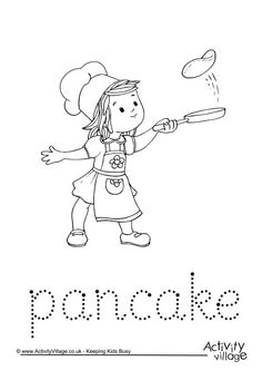 Pancake word tracing. Click through to the website for the printable.