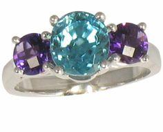 Ring: Amethyst and Blue Zircon