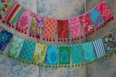 Loving this colourful rectangular mini Pom Pom bunting. Perfect for those hanging decorations at your Festival themed Wedding Fabric Bunting, Bunting Garland, Fabric Art, Diy Bunting, Fabric Banners, Bunting Ideas, Vintage Bunting, Fabric Garland, Sewing Crafts