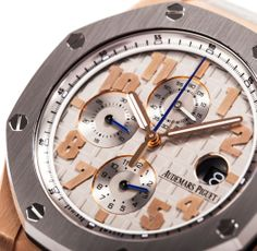 """Audemars Piguet Royal Oak Offshore LeBron James Limited Edition Mens Watch 26210OI.OO.A109CR.01  Swiss-made, automatic movement, 44mm 18-carat Rose Gold case with Titanium bezel and grey """"Méga Tapisserie"""" pattern, scratch-resistant sapphire glass and water-resistant to 100 metres. www.thediscountwatchgallery.com"""