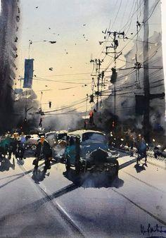 Alvaro Castagnet Thriller in Manila! Watercolor City, Watercolor Artwork, Watercolor Artists, Watercolor Landscape, Watercolor Print, City Painting, Artist Painting, Painting & Drawing, City Landscape