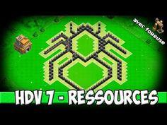 Clash of Clans - Village HDV 7 Ressources: Très design! (Foreuse inclue!) Scarabée - YouTube