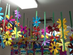 Hanging flowers. A great fine motor skills and maths activity. Children cut along strips of card. Count out 4 strips fold in half and glue each into a circle. Make two cross and staple in centre of each. A lovely display for Mother's Day .