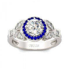 Leaf-shape Sapphire Halo Round Cut Created White Sapphire Rhodium Plated Sterling Silver Women's Ring