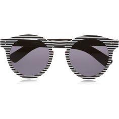 Illesteva Leonard round-frame acetate sunglasses (850 BRL) ❤ liked on Polyvore featuring accessories, eyewear, sunglasses, glasses, shades, uv protection sunglasses, striped sunglasses, round frame sunglasses, illesteva sunglasses and stripe sunglasses