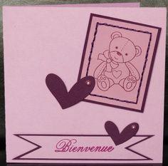 Du rose ... un ourson ... de la couture ... une carte en version fille ! - Les 2 Mains Gauches