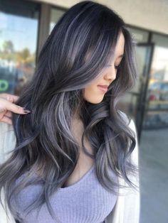 Brown Hair With Silver Highlights, Grey Brown Hair, Dark Hair With Highlights, Dark Brown, Gray Hair, Black Hair With Lowlights, Lavender Highlights, Ombre Brown, Dark Ash