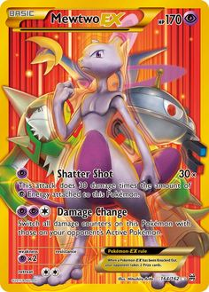 [P] Shatter Shot: damage. This attack does 30 damage times the amount of [P] Energy cards attached to this Pokémon. [P][P][C] Damage Change: Switch all damage counters on this Pokémon with those on your opponent's Active Pokémon. Pokemon Tcg Cards, Cool Pokemon Cards, Pokemon Trading Card, Trading Cards, Pokemon Real, Pokemon Mewtwo, Pokemon Fusion, Pokemon Cards Legendary, Pokemon Movies