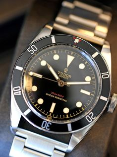 Photo Report: A Quick Look At The Unique Tudor Heritage Black Bay . Stylish Watches, Luxury Watches, Cool Watches, Men's Watches, Unique Watches, Rolex Watches For Men, Dream Watches, Casual Watches, Tudor Heritage Black Bay