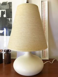 All Original Lotte Bostlund 1950s Lamp with Fiberglass Shade; Mid century Danish White Ceramic Canada by CaribeCasualShop on Etsy https://www.etsy.com/listing/280524608/all-original-lotte-bostlund-1950s-lamp