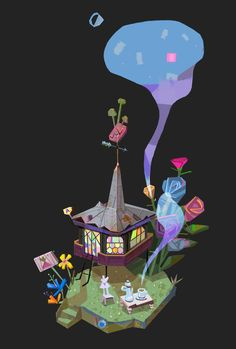 ArtStation - The Radishes' Tea House, Asya Vitalyevna Visual Development, Old Friends, Minnie Mouse, Snoopy, Christmas Ornaments, Disney Characters, Holiday Decor, Artwork, House
