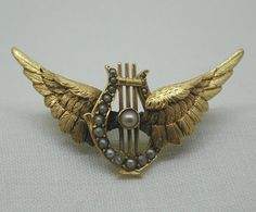Antique 15ct Gold And Pearl Winged Harp Brooch