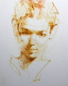 So few strokes. such a perfect likeness Portrait Sketches, Portrait Art, Illustration Sketches, Drawing Sketches, Figure Painting, Painting & Drawing, Drawing Heads, Realistic Pencil Drawings, Watercolor Portraits