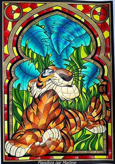 The Jungle Book Disney Stained Glass, Stained Glass Christmas, Stained Glass Art, Bear Pictures, Cute Pictures, Dumbo Drawing, Coloring Books, Coloring Pages, Cute Calendar