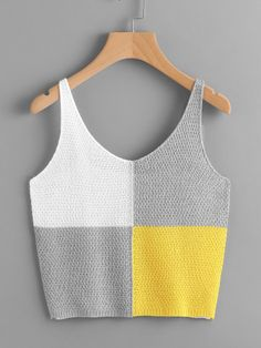 Tank tejido de color block-Spanish SheIn(Sheinside)