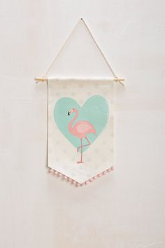 Fabric wall banner flamingo print girls wall by Nuppi on Etsy