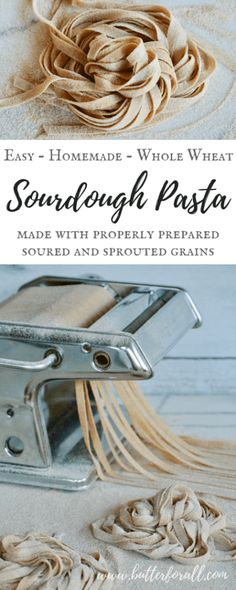 This Whole Wheat Sourdough Pasta is made with properly prepared grains for a nourishing homemade meal. pasta Whole Wheat Sourdough Pasta - Made With Properly Prepared Grains Sourdough Pasta Recipe, Sourdough Recipes, Sourdough Bread, Real Food Recipes, Cooking Recipes, Pasta Recipes, Cooking Tips, Linguine Recipes, Cooking Ham