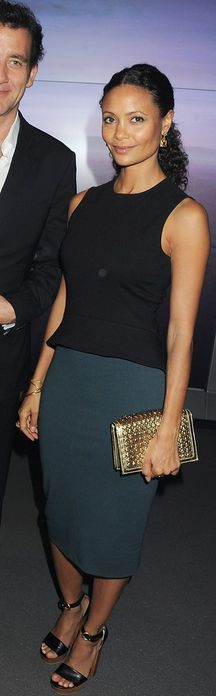 Who made Thandie Newton's black peplum top and green skirt that she wore in London on July 16, 2012? Dress – Stella McCartney