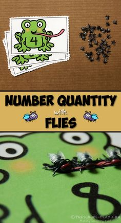 Number quantity activity for preschool, pre-k, and kindergarten. Eating some most delicious bugs! Science Activities For Kids, Spring Activities, Kindergarten Activities, Frogs Preschool, Pond Animals, Frog Theme, Pond Life, Amphibians, Reptiles