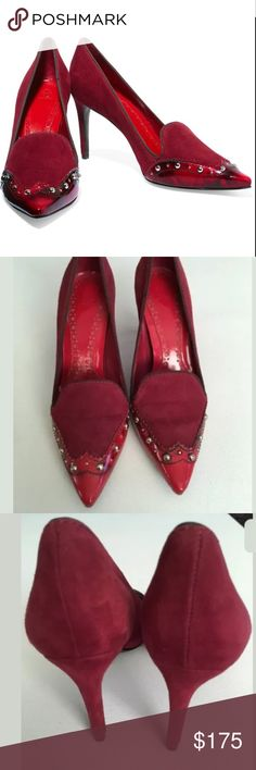 Tory Burch red suede monroe patent leather pumps 6 Tory Burch's Studded Monroe Pump combines classic menswear-inspired spectator detailing with a feminine pointy toe and stiletto heel. Heel measures approximately 90mm/ 3.5 inches. Has studs, tonal-red patent-leather trim, pointed toe Slip on Designer color: Tory Red/ Auburn/ Coconut. Fits true to size. Used a few times but still in great condition. See all pictures for signs of wear. Does not come with box. Tory Burch Shoes Heels