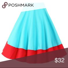 """Lindy Bop """"Ohlson"""" skirt Lindy Bop Teal skirt with red border at the bottom. Size is UK16/US12. ModCloth Skirts A-Line or Full"""