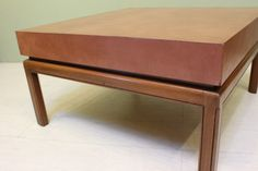 VINTAGE MODERN LEATHER TOPPED COFFEE TABLE / MID CENTURY MODERN