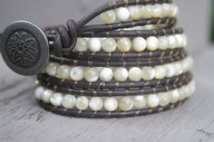 Leather Wrap Bracelet  Mother of Pearl  Bohemian by BlueHarbor, $42.00