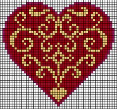 heart hama perler beads pattern