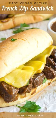 This vegan French Dip Sandwich is served with a savory sauce, that makes each bite infused with deliciousness! Make this tasty vegan sandwich in minutes and enjoy it as a scrumptious meal!   #namelymarly #vegansandwiches #frenchdip #vegetariansandwich Best Vegetarian Sandwiches, Vegan Sandwich Recipes, Vegetarian Snacks, Best Vegan Recipes, Vegan Dinner Recipes, Vegan Dinners, Vegan Ideas, Snack Recipes, Creamy Soup Recipes