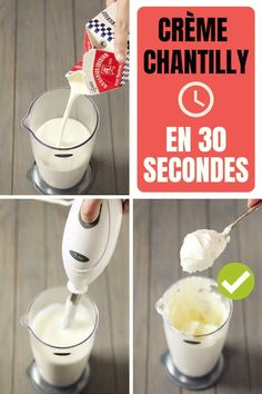 Comment Faire De la Crème Chantilly Maison En 30 Secondes Chrono The recipe of the cream chantilly ultra easy and fast in 30 seconds chrono Easy Desserts, Dessert Recipes, Cake Recipes, Desserts With Biscuits, Recipes With Whipping Cream, Homemade Whipped Cream, Vegetable Drinks, Mousse, Cata