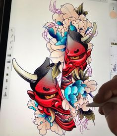 Daruma Doll Tattoo, Hannya Mask Tattoo, Hanya Tattoo, Irezumi Tattoos, Leg Tattoos, Body Art Tattoos, Japan Tattoo Design, Japanese Tattoo Designs, Mascara Hannya