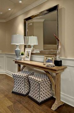 wooden console table with table lamp and large wall mirror want this console for sofa, so thin!!