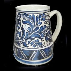 Pottery Vase, Ceramic Pottery, Ceramic Art, Traditional Tattoo Design, Carafe, Romania, Folk Art, Tattoo Designs, Sculpture
