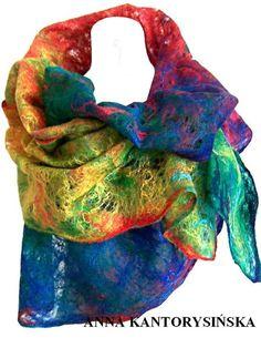 felted scarf shawl RAINBOW handmade cobweb free by kantorysinska, $115.00