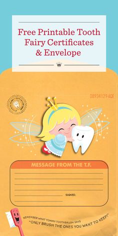 Free Printable Tooth Fairy Certificates & Envelope   Tooth Fairy making a visit? Download a free printable Tooth Fairy certificate and envelope from Hallmark for a sweet way to record the details.