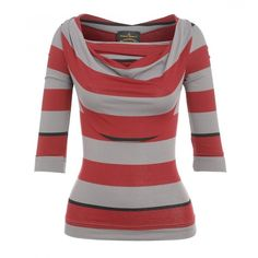 Vivienne Westwood Anglomania Top Red Taupe Striped Jersey Scoop Top ($165) ❤ liked on Polyvore