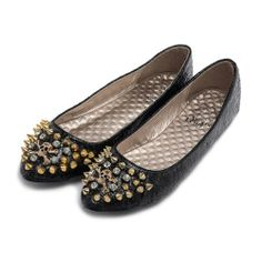 Alexis Leroy Women Slip On Round Toe Spiked Ballet Flats Shoes