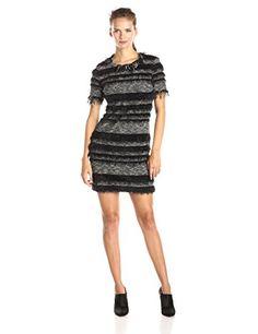 Nicole Miller Knit Fuzzy Stripe Sheath Dress, Black/Ivory - http://www.womansindex.com/nicole-miller-knit-fuzzy-stripe-sheath-dress-blackivory/