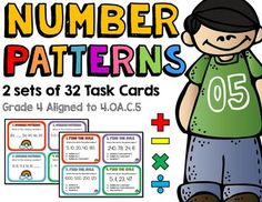 Number Patterns by Rock Paper Scissors Math Activities, Teaching Resources, Fast Finishers, Number Patterns, Multiplication And Division, Math Education, Math Concepts, Center Ideas, Test Prep