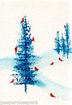 watercolor trees w/birds for Christmas cards. Watercolor Trees, Watercolor Cards, Watercolour Painting, Painting & Drawing, Simple Watercolor, Watercolours, Watercolor Christmas Cards, Christmas Art, Simple Christmas