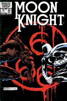 Moon Knight #30, april 1983, cover by Bill Sienkiewicz.