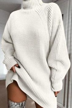 10+ Best Amazon fashion dresses not to miss for fall/winter time. These cool and chic dresses are all you need to make the best winter outfits. You won't believe they're ALL UNDER $50. Long Sleeve Sweater Dress, Knit Sweater Dress, Loose Sweater, Jumper, Grey Outfit, Mode Outfits, Winter Outfits, Dresses With Sleeves, Sleeve Dresses