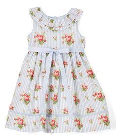 Blue & White Floral Sleeveless Dress - Infant, Toddler & Girls #zulily #zulilyfinds