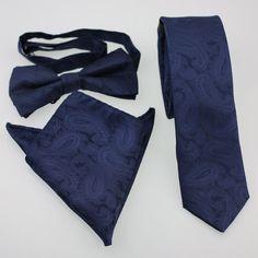 Coachella Ties Navy Paisley Solid Colour Necktie SKINNY Tie,Pocket Square,Bowtie
